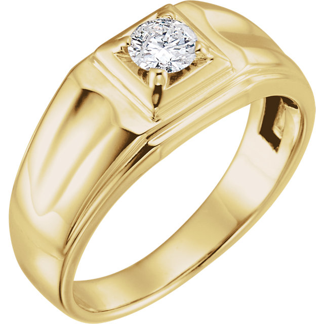 14 KT Yellow Gold 0.40 Carat TW Diamond Men's Ring