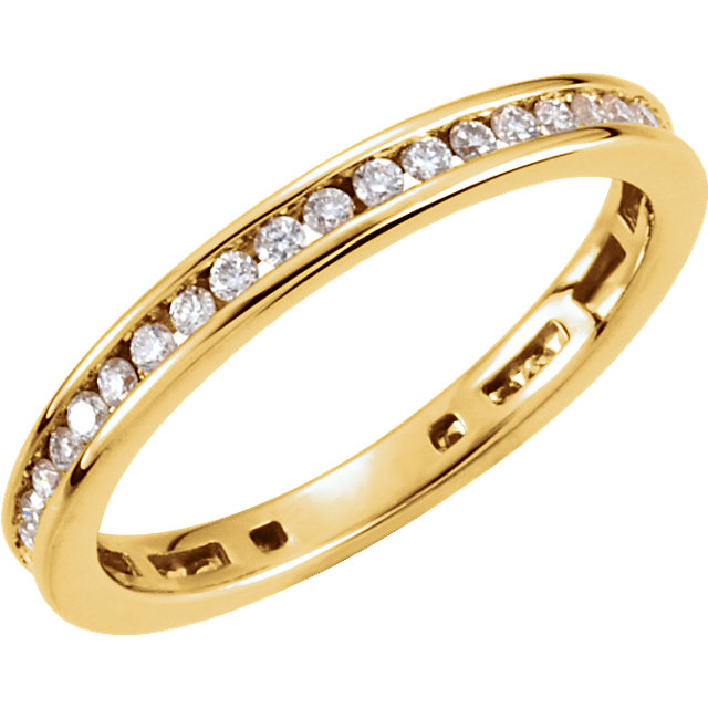 Surprise Her with  14 Karat Yellow Gold 0.40 Carat Total Weight Diamond Stackable Ring