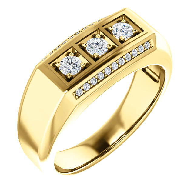 14 KT Yellow Gold 0.50 Carat TW Diamond Men's Ring