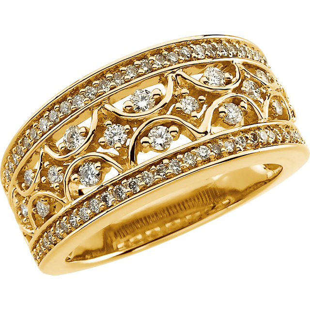 Genuine 14 KT Yellow Gold 0.60 Carat TW Diamond Band Size 7