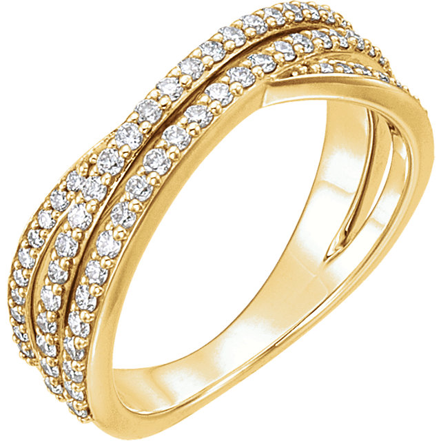 Fine Quality 14 Karat Yellow Gold 0.50 Carat Total Weight Diamond Criss Cross Ring