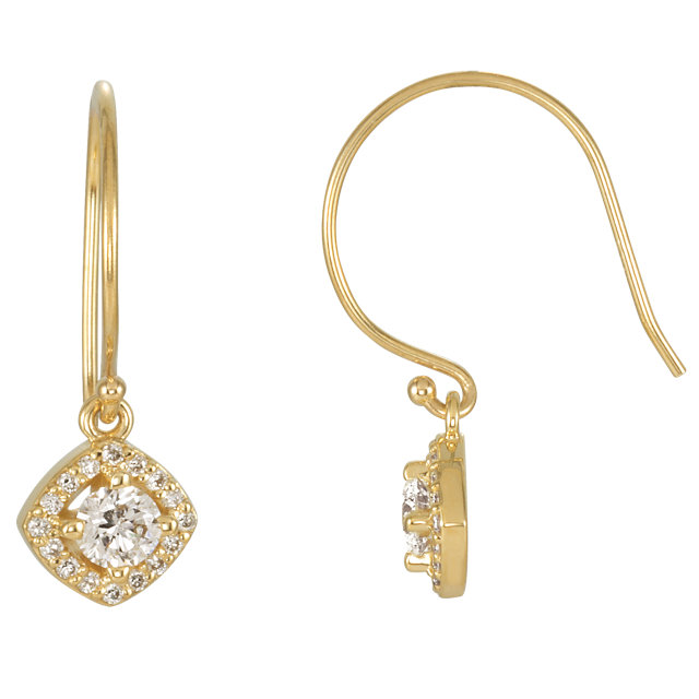 Great Gift in 14 Karat Yellow Gold 0.60 Carat Total Weight Diamond Earrings