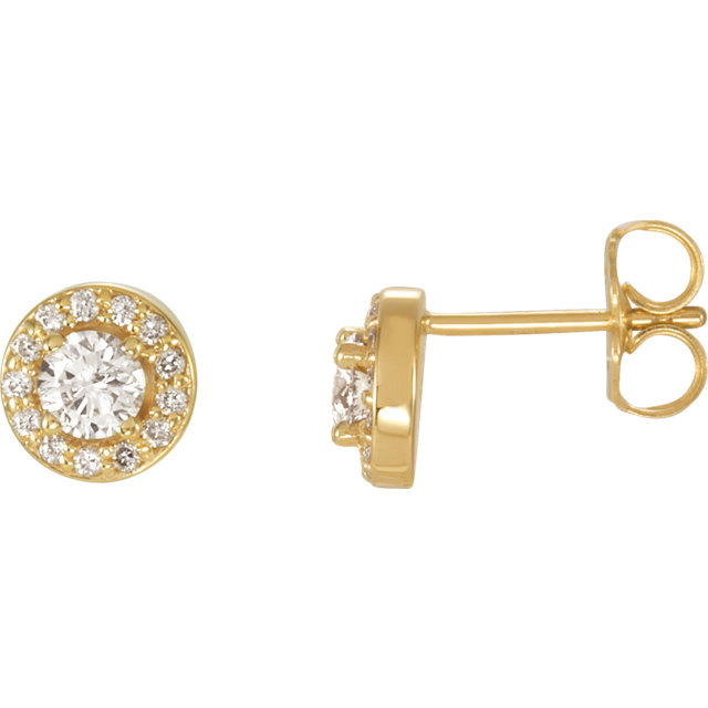 Perfect Gift Idea in 14 Karat Yellow Gold 0.60 Carat Total Weight Diamond Halo-Style Earrings