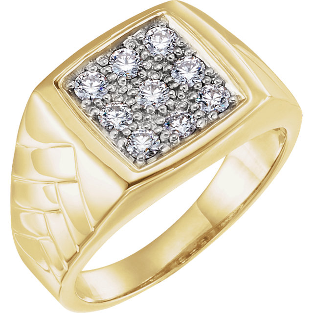 Chic 14 Karat Yellow Gold & White 0.60 Carat Total Weight Men's Diamond Ring