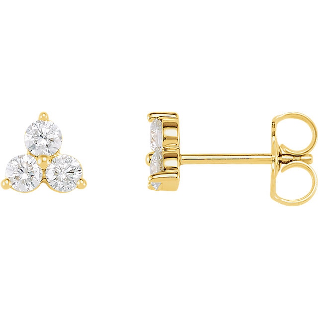 Eye Catchy 14 Karat Yellow Gold 0.60 Carat Total Weight Three-Stone Diamond Earrings