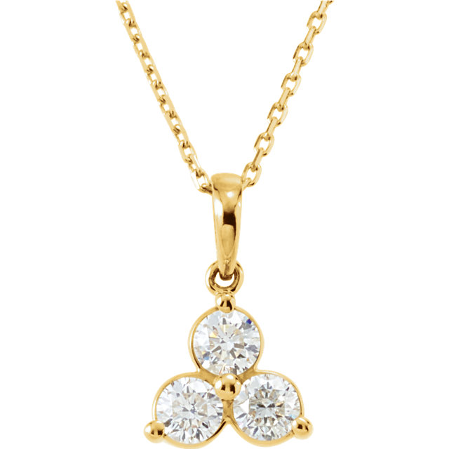 Appealing Jewelry in 14 Karat Yellow Gold 0.60 Carat Total Weight Diamond Three-Stone 18