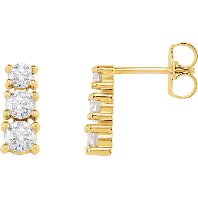 Great Deal in 14 Karat Yellow Gold 0.90 Carat Total Weight Diamond Three-Stone Earrings