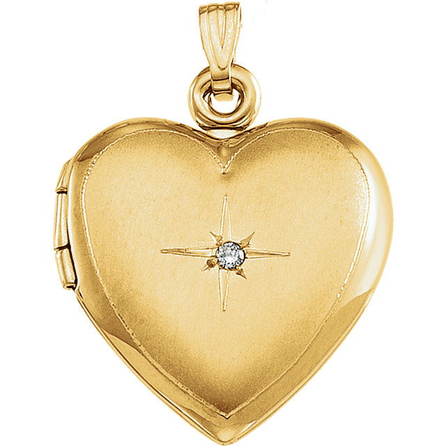 Genuine 14 Karat Yellow Gold Diamond Accented Heart Locket