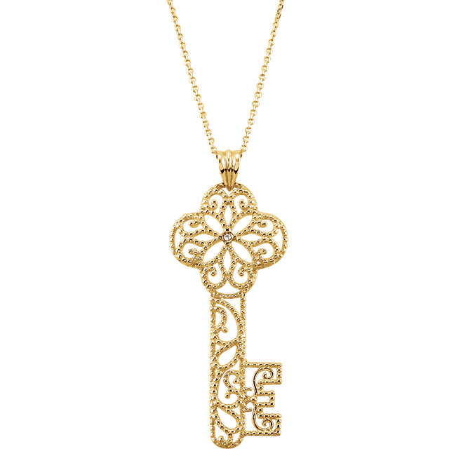 14 KT Yellow Gold Diamond Key 18