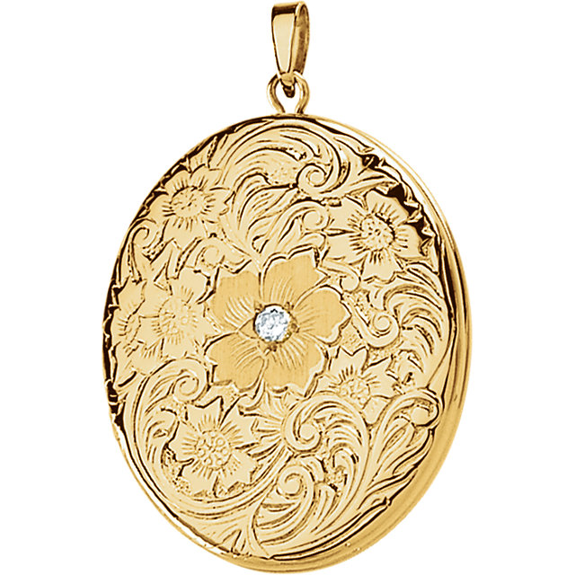 14 Karat Yellow Gold Round Genuine Diamond Locket