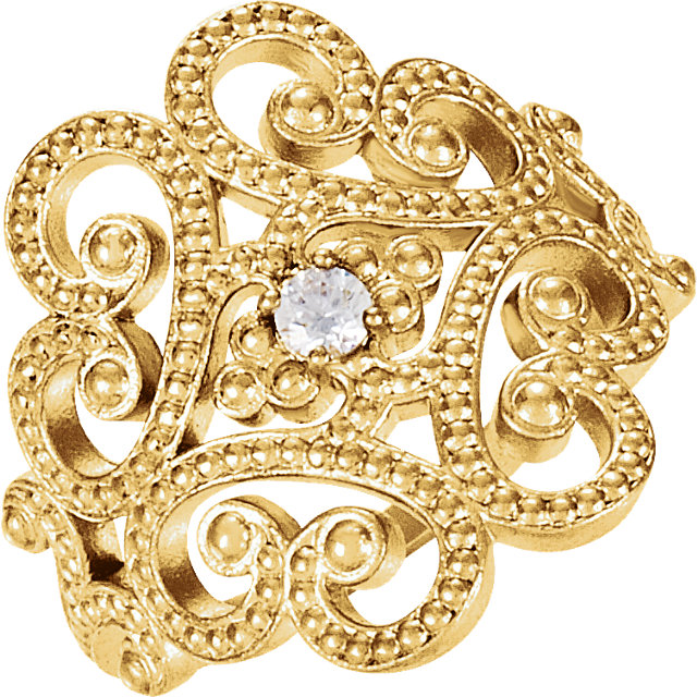 Great Deal in 14 Karat Yellow Gold Granulated Design Ring Size 7