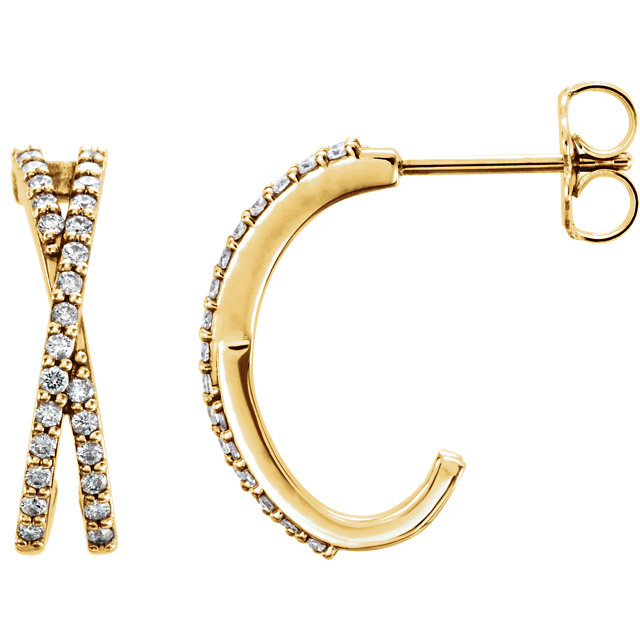 Perfect Jewelry Gift 14 Karat Yellow Gold 0.25 Carat Total Weight Diamond Criss-Cross J-Hoop Earrings
