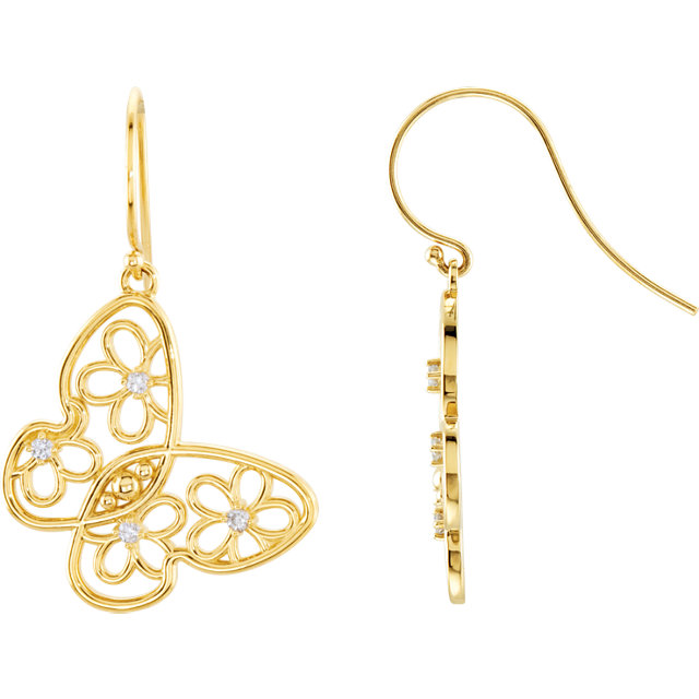 Stunning 14 Karat Yellow Gold 0.17 Carat Total Weight Diamond Floral-Inspired Butterfly Earrings