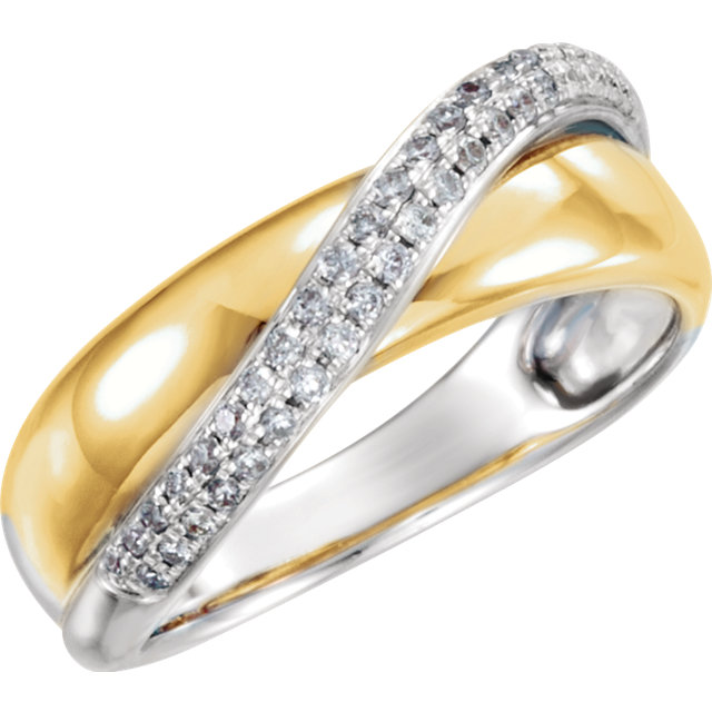Perfect Gift Idea in 14 Karat Yellow Gold & White  0.20 Carat Total Weight Diamond Ring