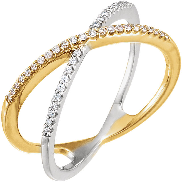 Contemporary 14 Karat Yellow Gold & White 0.17 Carat Total Weight Diamond Criss-Cross Ring