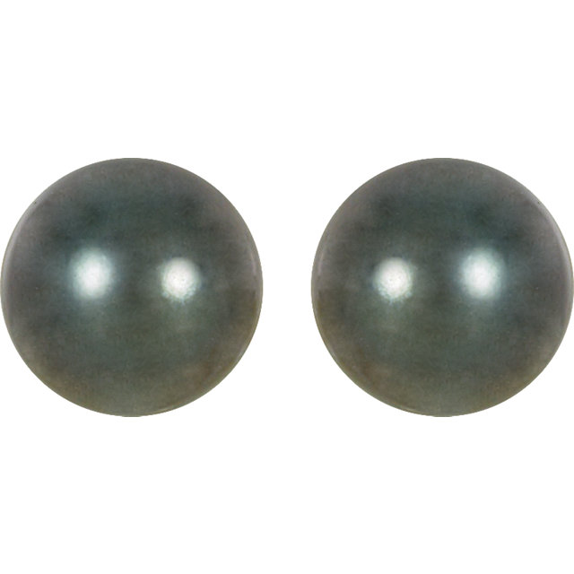 14K Palladium White 8mm Round Genuine Tahitian Pearl Earrings
