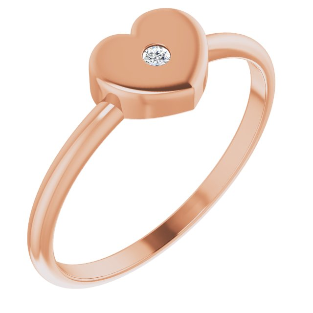 White Diamond Ring in 14 Karat Rose Gold .01 Carat Diamond Solitaire Heart Youth Ring