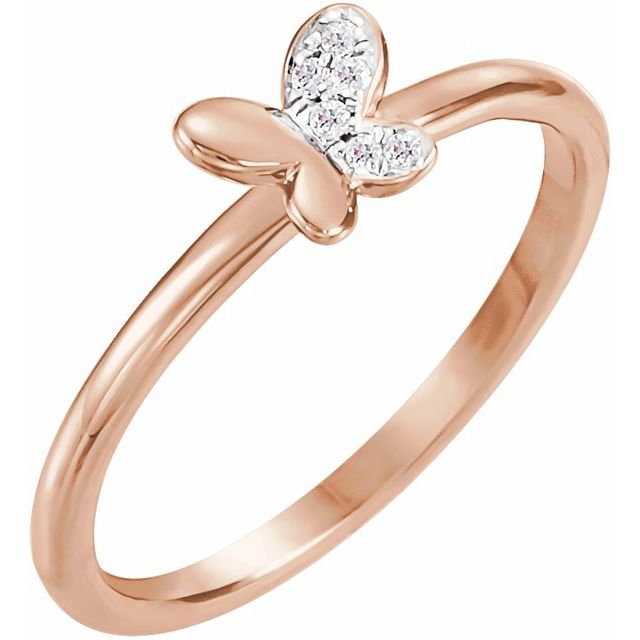 White Diamond Ring in 14 Karat Rose Gold .02 Carat Diamond Butterfly Youth Ring