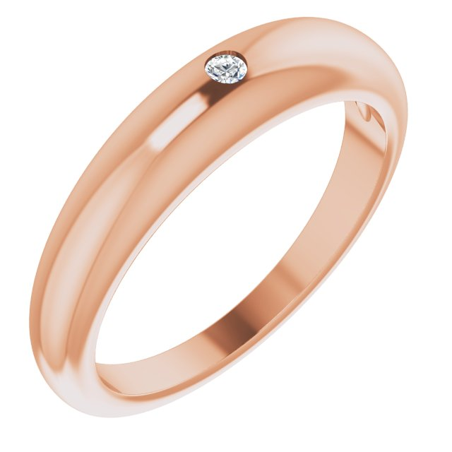 White Diamond Ring in 14 Karat Rose Gold .03 Carat Diamond Petite Dome Ring