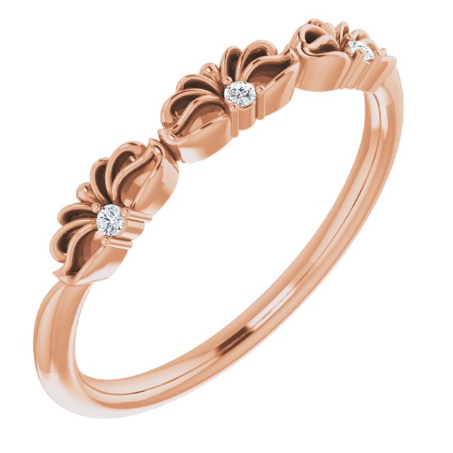 White Diamond Ring in 14 Karat Rose Gold .03 Carat Diamond Crown Ring