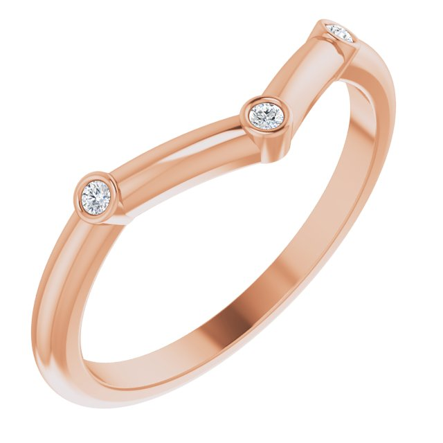 White Diamond Ring in 14 Karat Rose Gold .03 Carat Diamond Stackable Chevron Ring