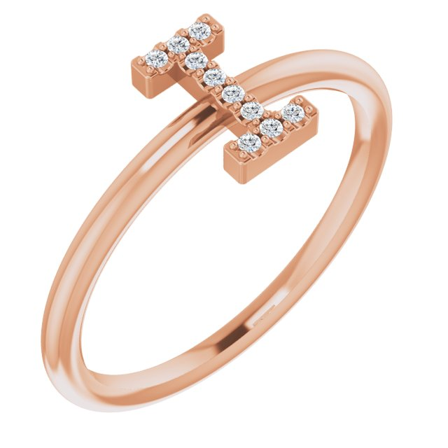 White Diamond Ring in 14 Karat Rose Gold .04 Carat Diamond Initial I Ring