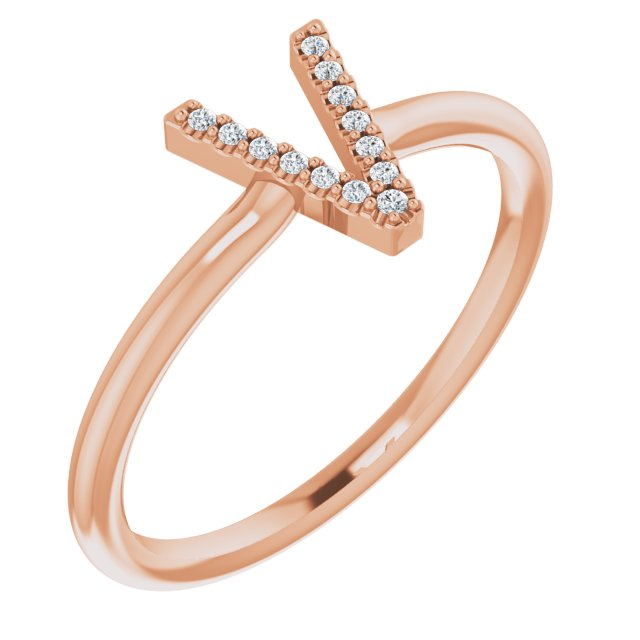 White Diamond Ring in 14 Karat Rose Gold .04 Carat Diamond Initial V Ring