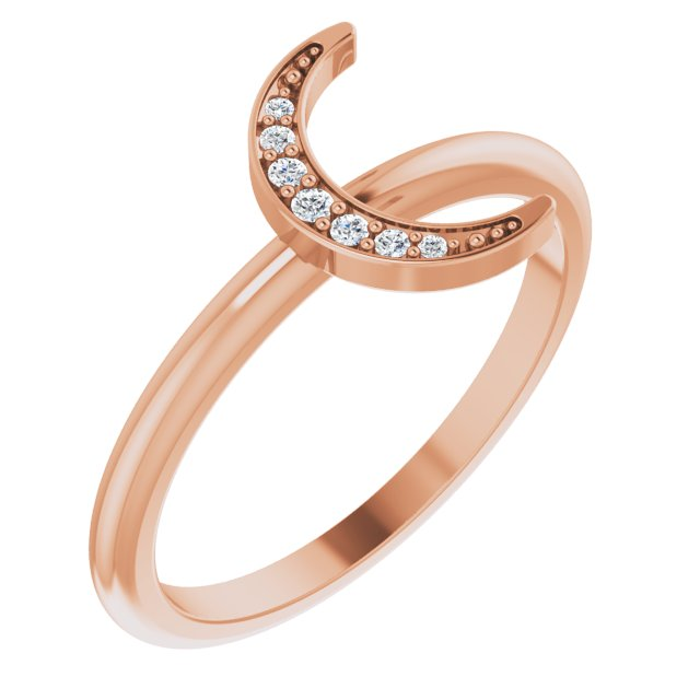 White Diamond Ring in 14 Karat Rose Gold .04 Carat Diamond Stackable Crescent Ring