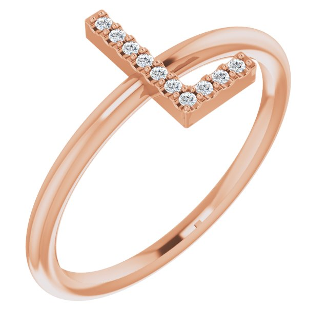 White Diamond Ring in 14 Karat Rose Gold .05 Carat Diamond Initial L Ring