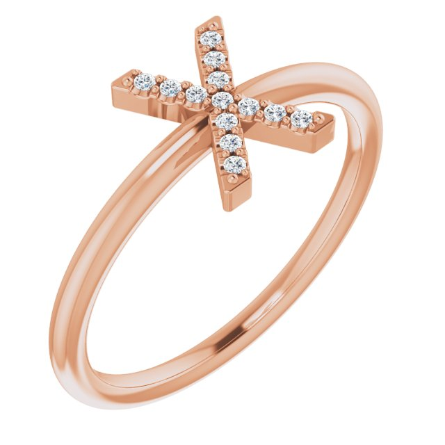 White Diamond Ring in 14 Karat Rose Gold .05 Carat Diamond Initial X Ring