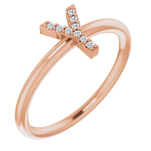 White Diamond Ring in 14 Karat Rose Gold .05 Carat Diamond Initial Y Ring