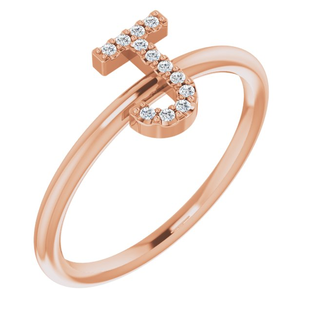 White Diamond Ring in 14 Karat Rose Gold .06 Carat Diamond Initial J Ring