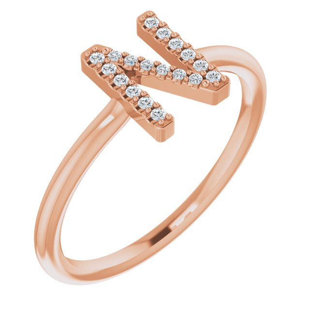 White Diamond Ring in 14 Karat Rose Gold .06 Carat Diamond Initial N Ring