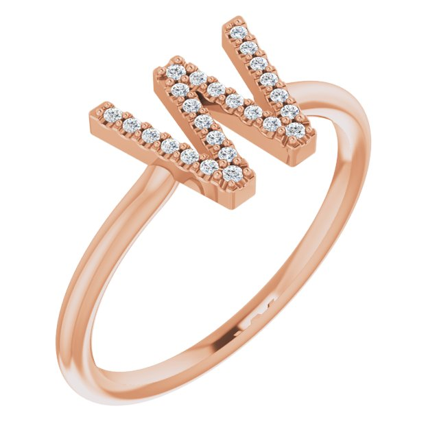 White Diamond Ring in 14 Karat Rose Gold .06 Carat Diamond Initial W Ring