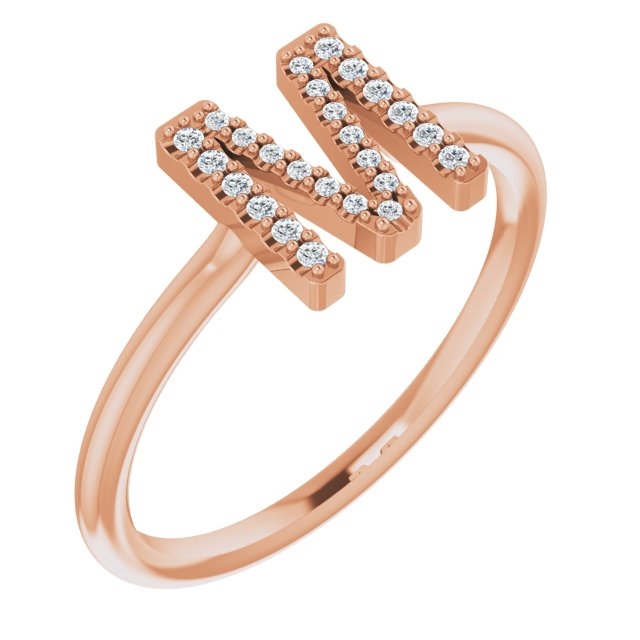 White Diamond Ring in 14 Karat Rose Gold .07 Carat Diamond Initial M Ring