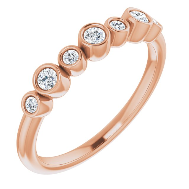 White Diamond Ring in 14 Karat Rose Gold .08 Carat Diamond Bezel-Set Ring