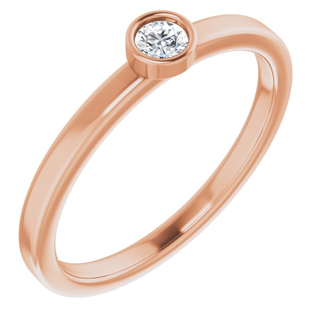 White Diamond Ring in 14 Karat Rose Gold 1/10 Carat Diamond Ring