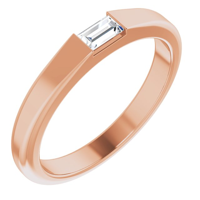 White Diamond Ring in 14 Karat Rose Gold 1/10 Carat Diamond Stackable Ring Size 4