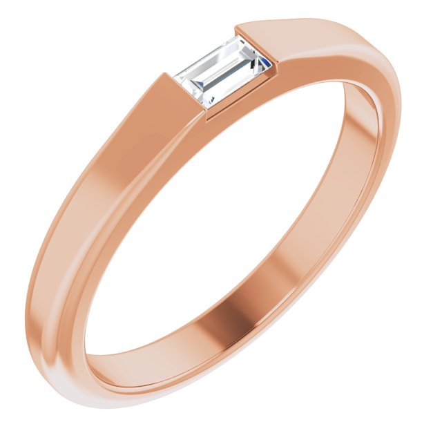 White Diamond Ring in 14 Karat Rose Gold 1/10 Carat Diamond Stackable Ring Size 5