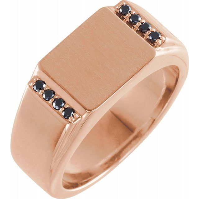 White Diamond Ring in 14 Karat Rose Gold 1/10 Carat Black Diamond 11.5x10 mm Rectangle Signet Ring
