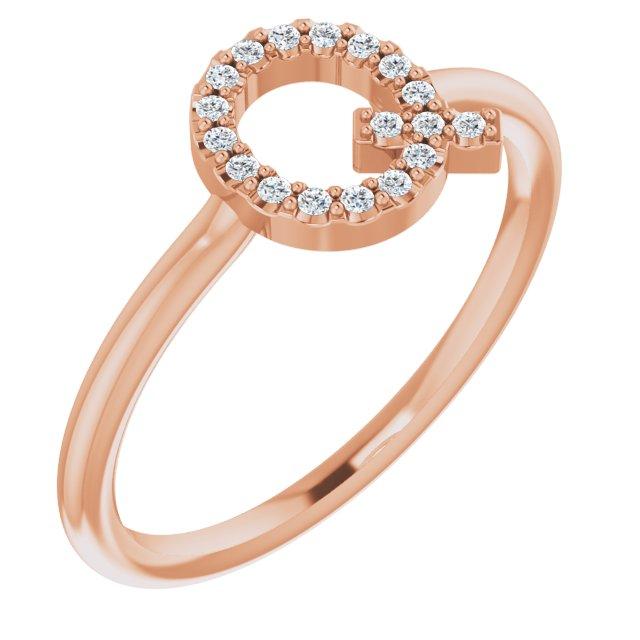 White Diamond Ring in 14 Karat Rose Gold 1/10 Carat Diamond Initial Q Ring