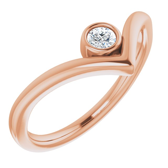 White Diamond Ring in 14 Karat Rose Gold 1/10 Carat Diamond Solitaire Bezel-Set