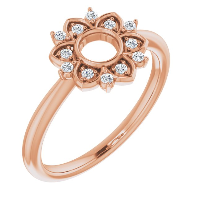 White Diamond Ring in 14 Karat Rose Gold 1/10 Carat Diamond Starburst Ring