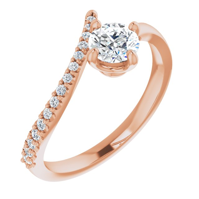 White Diamond Ring in 14 Karat Rose Gold 1/2 Carat Diamond Bypass Ring
