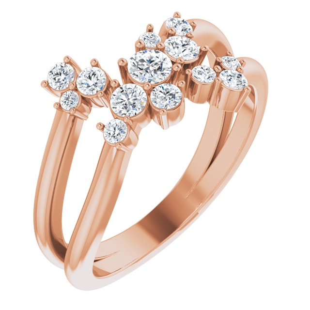 White Diamond Ring in 14 Karat Rose Gold 1/2 Carat Diamond Cluster Bypass Ring