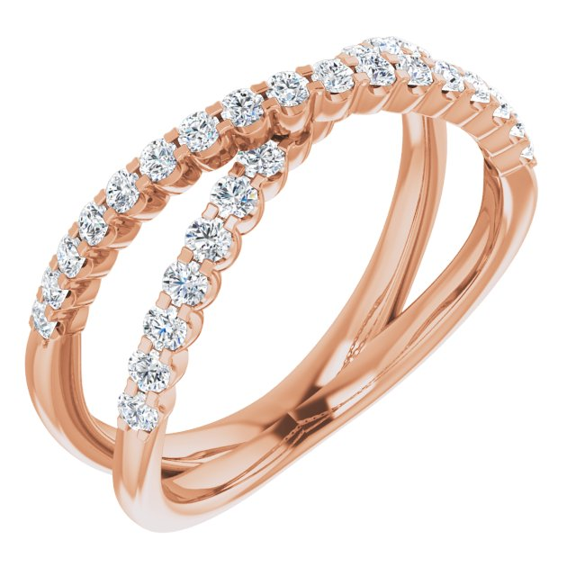 White Diamond Ring in 14 Karat Rose Gold 1/2 Carat Diamond Criss-Cross Ring