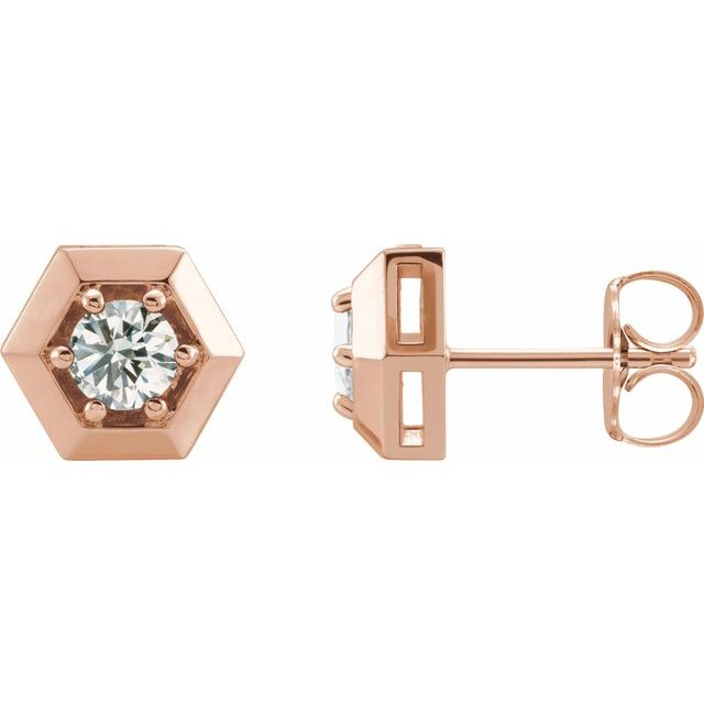 White Diamond Earrings in 14 Karat Rose Gold 1/2 Carat Diamond Geometric Earrings