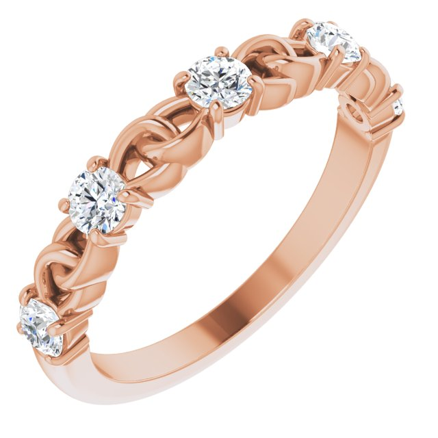 White Diamond Ring in 14 Karat Rose Gold 1/2 Carat Diamond Stackable Link Ring