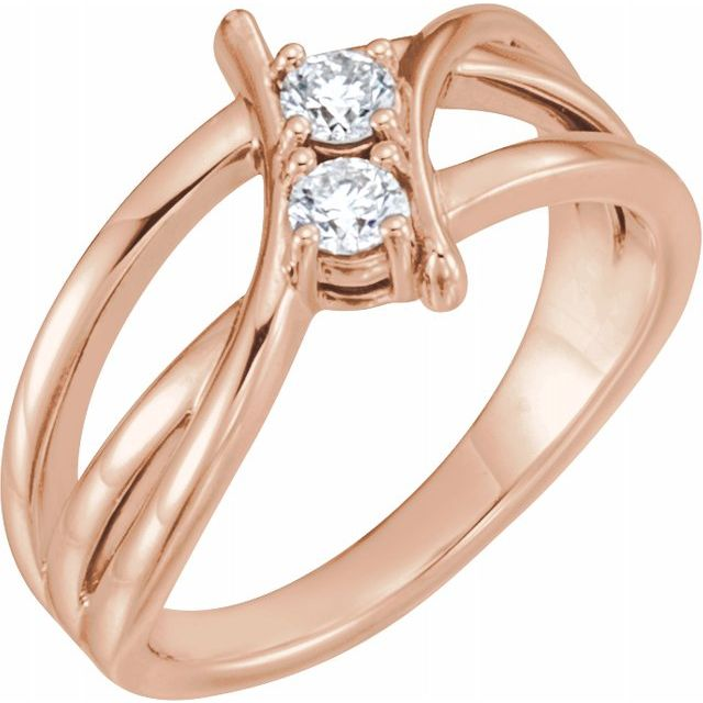 White Diamond Ring in 14 Karat Rose Gold 1/2 Carat DiamondTwo-Stone Ring