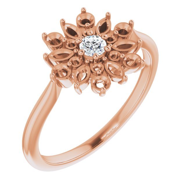 White Diamond Ring in 14 Karat Rose Gold 1/2 Carat Diamond Vintage-Inspired Ring